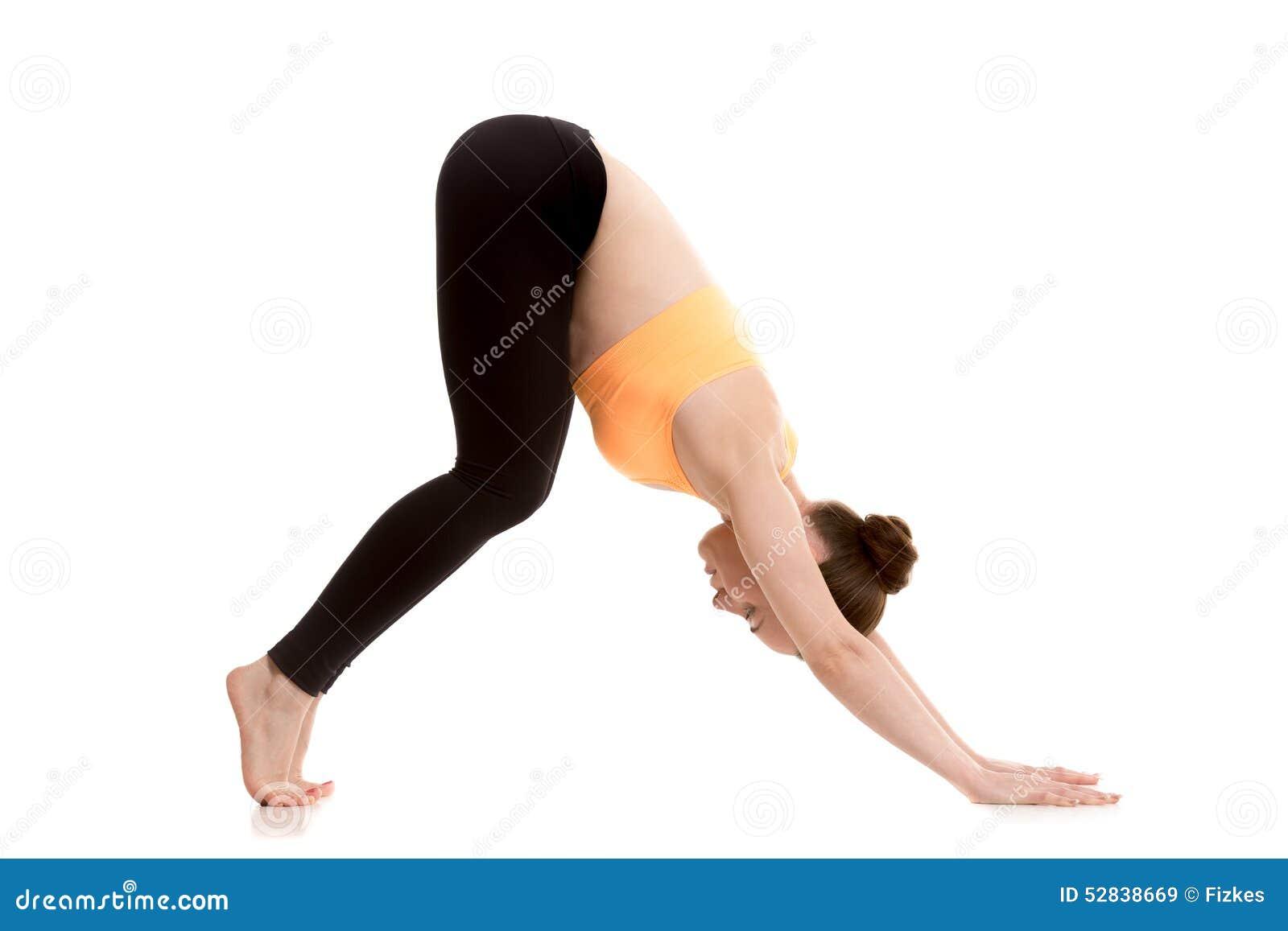 Downward Facing Dog Yoga Pose For Beginner Stock Image