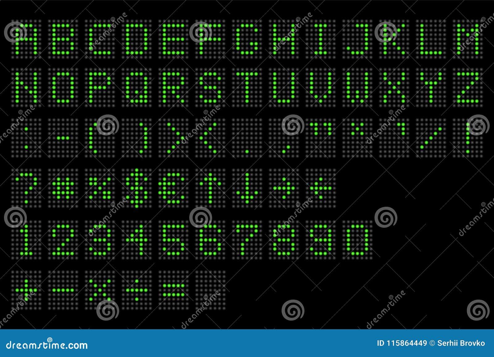 Dowodzony cyfrowy abecadło Elektroniczny liczby, abecadła cyfrowy pokaz i, Cyfrowego śmiertelnie stół prowadził chrzcielnicy, z g