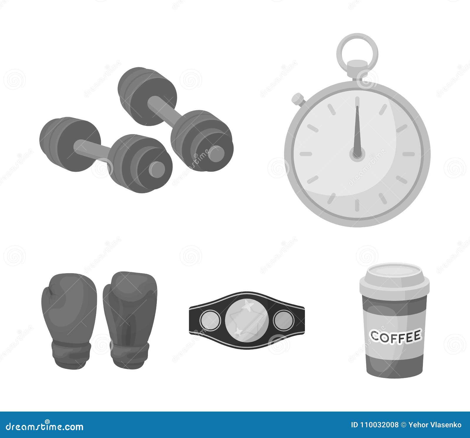 In dozen doen, sport die, chronometer, horloge vastgestelde inzamelingspictogrammen in het zwart-wit Web van de de voorraadillust