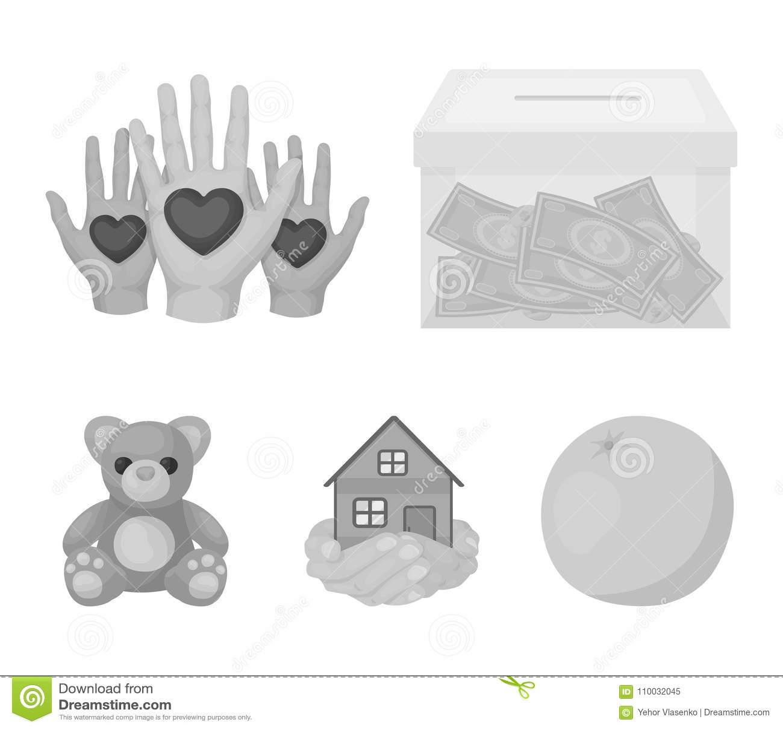 In dozen doend glas met schenkingen, handen met harten, huis in handen, teddybeer voor liefdadigheid Liefdadigheid en schenkingsr