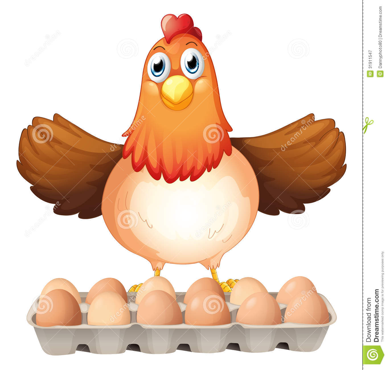 Dozen Of Eggs And The Mother Hen Royalty Free Stock Photography ...