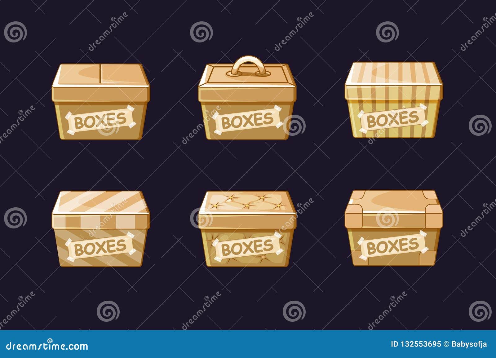 Dozen van het beeldverhaal de verschillende karton, vectoren die, voorwerpen inpakken