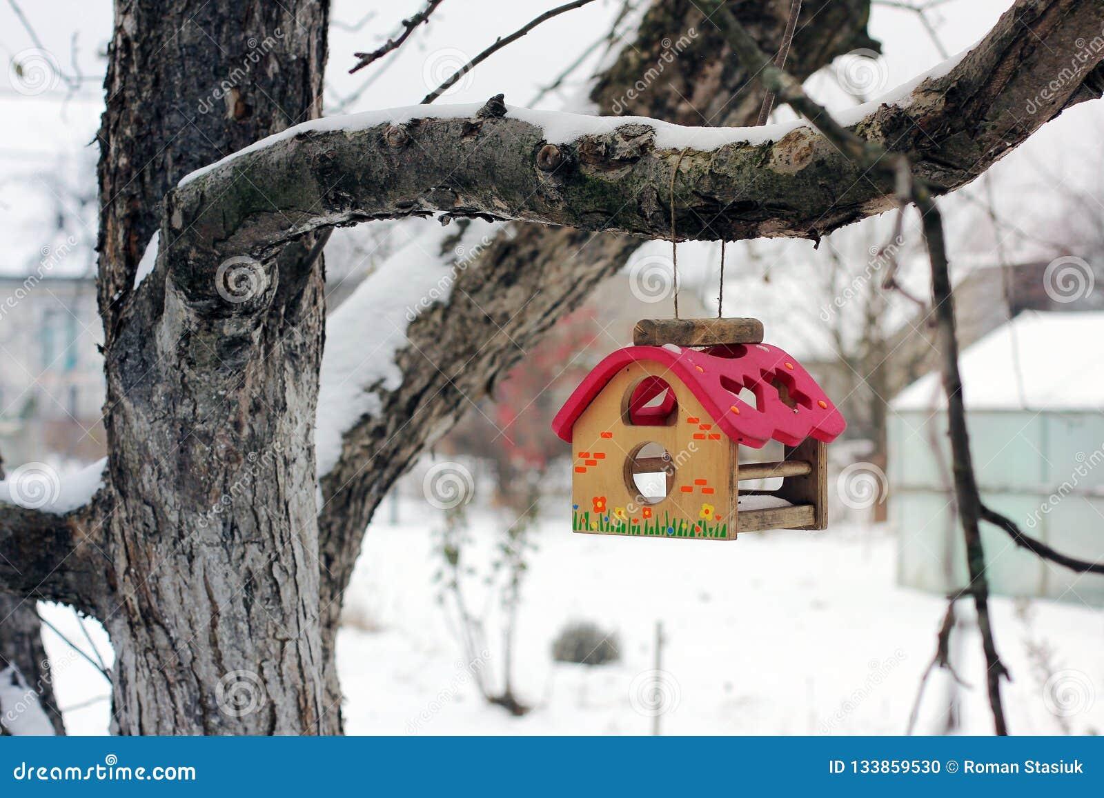 Dozownik dla ptaków na drzewie w zimie Birdhouse