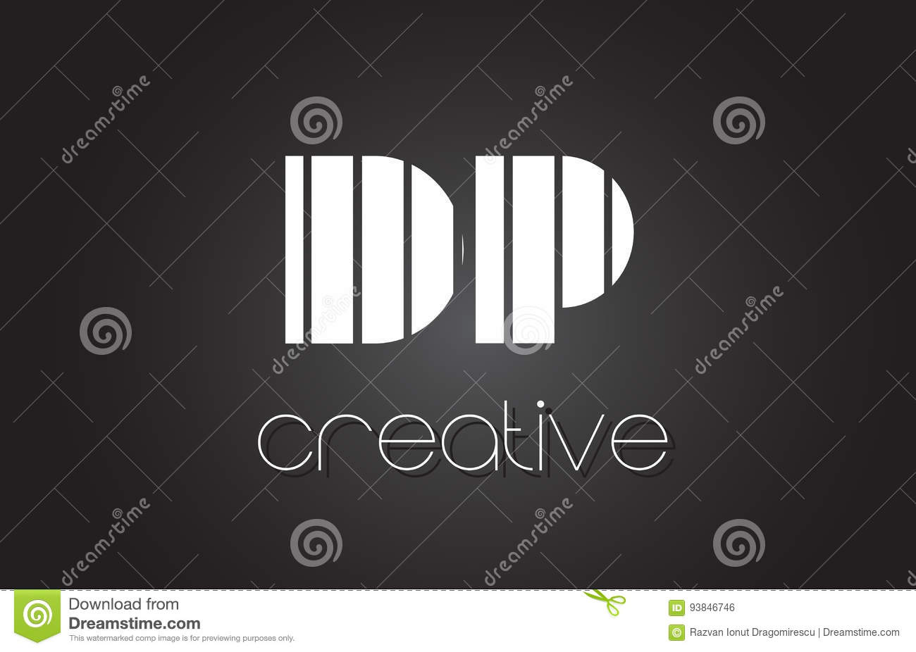 Dp d p letter logo design with white and black lines