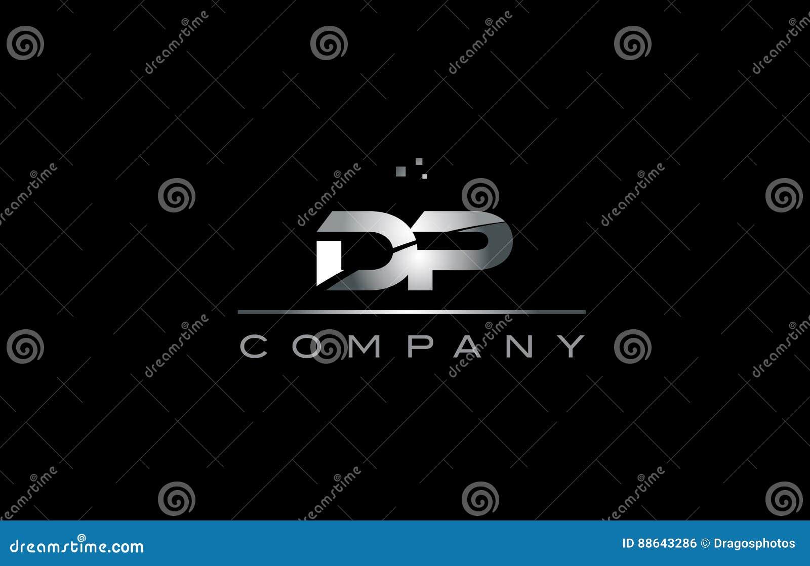 dp d p silver grey metal metallic alphabet letter logo icon stock