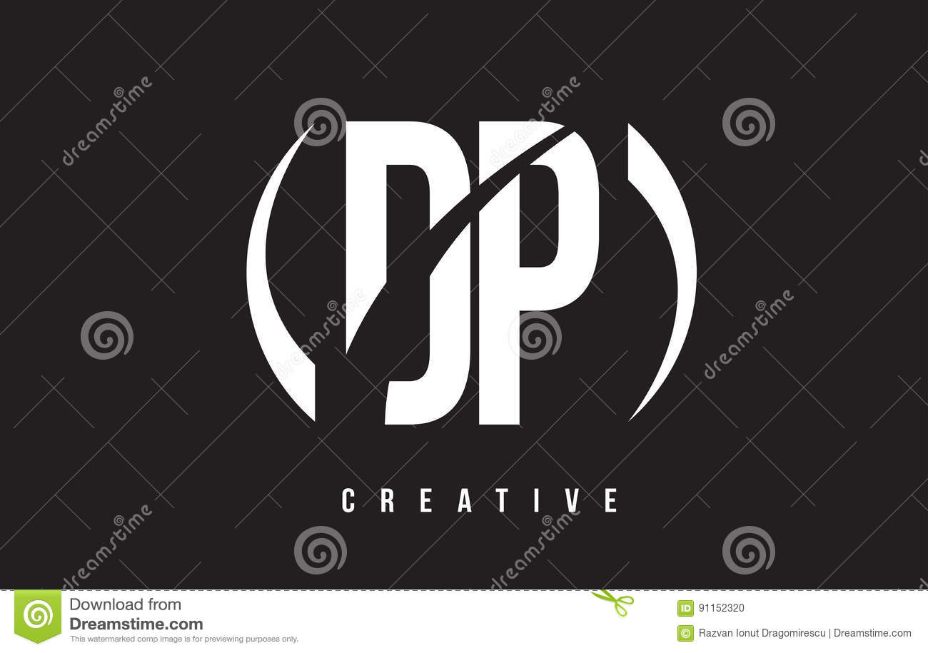 Dp d p white letter logo design with black background