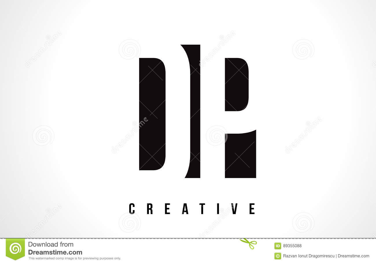 dp d p white letter logo design with black square. stock vector