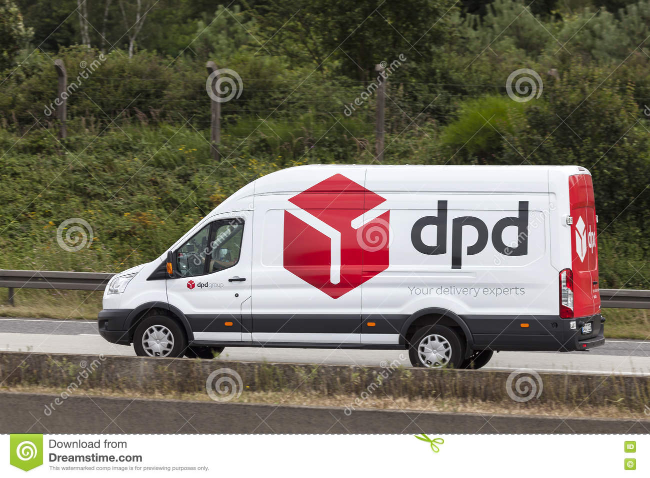 dpd delivery van on the highway editorial stock photo. Black Bedroom Furniture Sets. Home Design Ideas