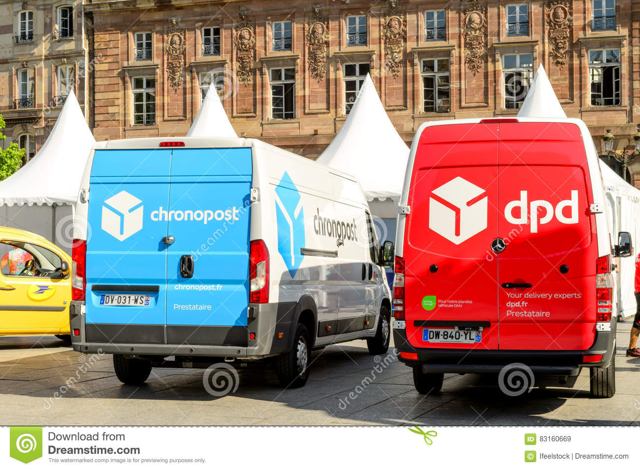 dpd post and chronopost vans in central square editorial. Black Bedroom Furniture Sets. Home Design Ideas