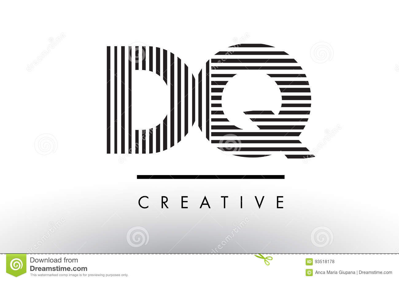 DQ D Q Black and White Lines Letter Logo Design.