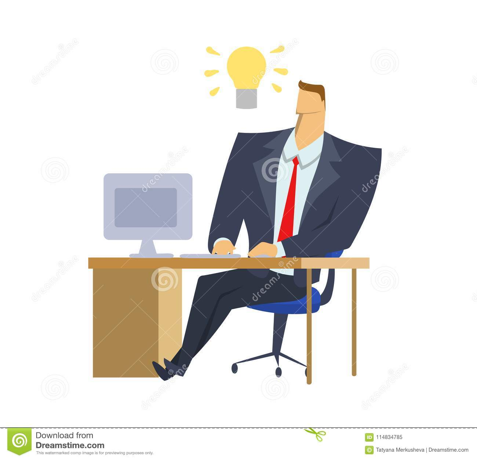 Dräkt för affärsman som i regeringsställning framme sitter av datoren med enkula av idén ovanför hans huvud Ljus-kula ögonblick