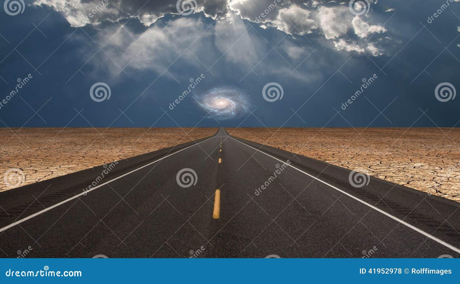 Dróg prowadzenia w pustynię w kierunku galaxy