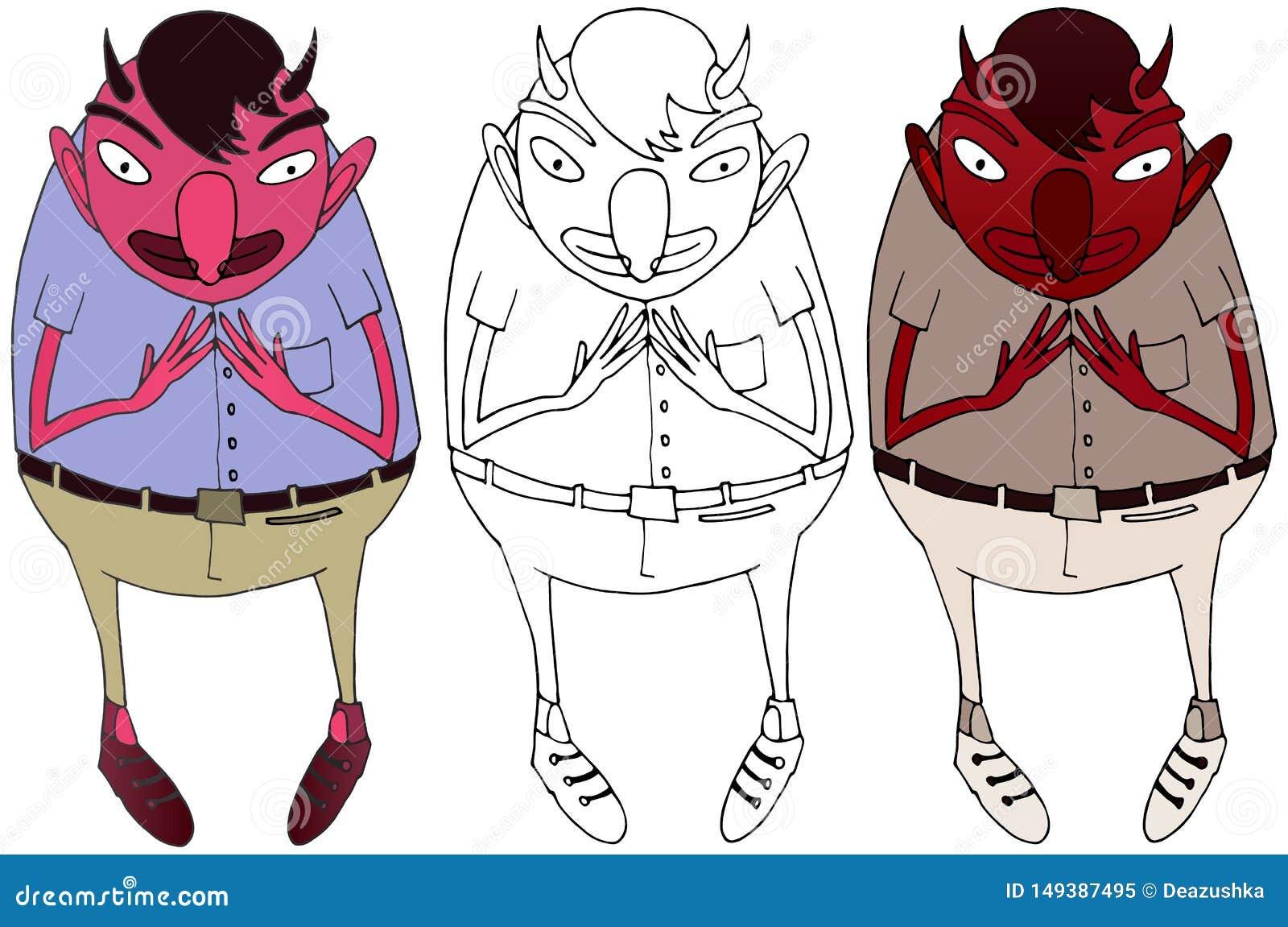 Dr?le heureux de griffonnage de couleur de diable de bande dessin?e de monstre d aspiration rouge de main