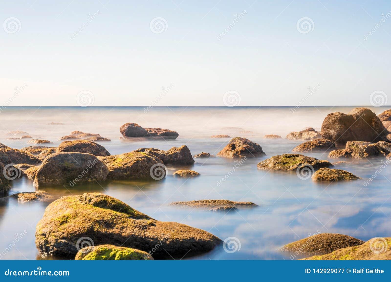 Drömlik kust av ett hav med mossiga stenar