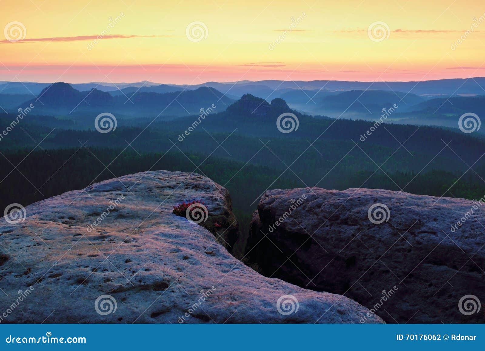 Drömlikt dimmigt landskap Det majestätiska berget klippte belysningmisten som den djupa dalen är full av färgrik dimma, och steni