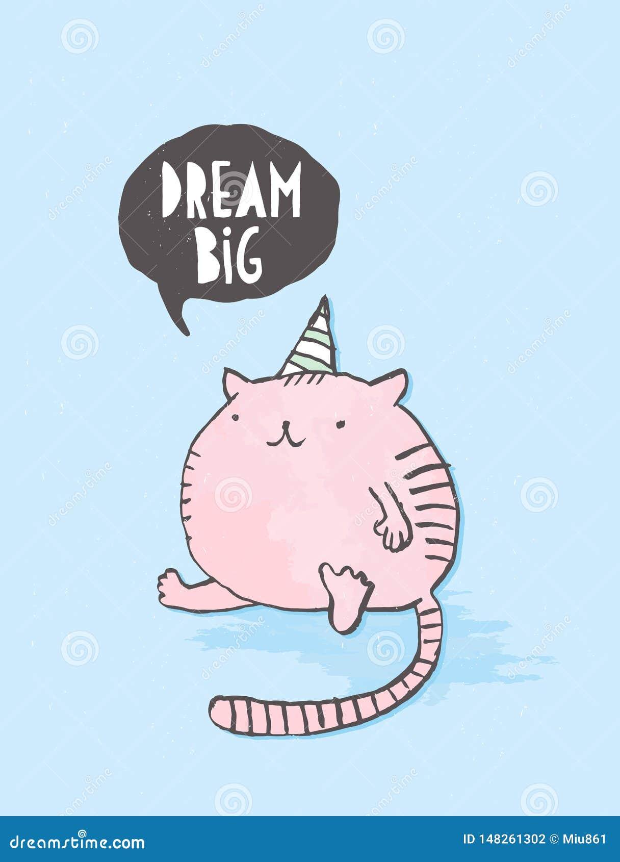 Dr?m- stort Utdragen vektorgarnering för gullig hand med den roliga rosa feta katten på en blå bakgrund