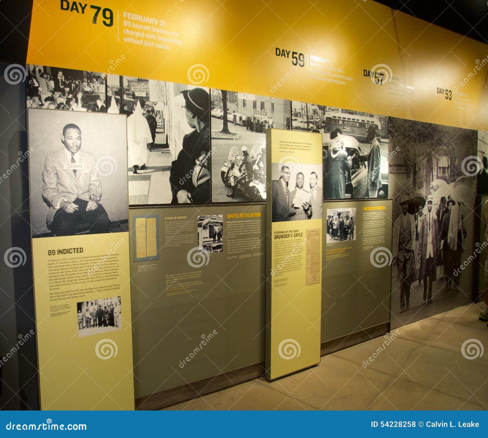 Dr. Martin Luther Kings Jr in gevangenistentoongesteld voorwerp bij het Nationale Burgerrechtenmuseum in Lorraine Motel