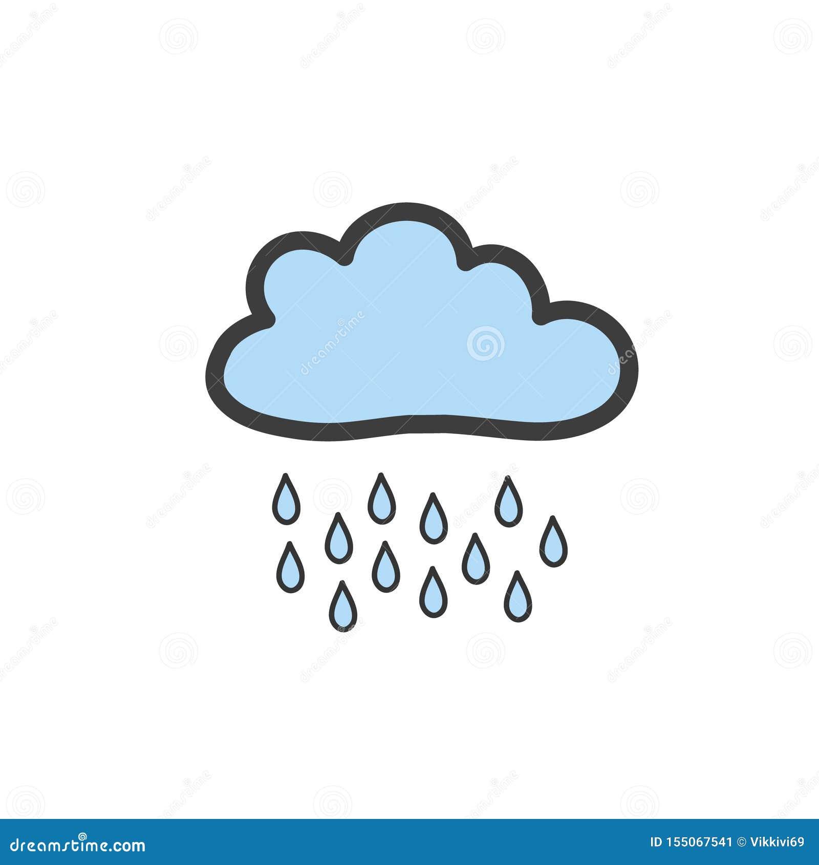 Dra blåa moln med regn i klotterstil Symbol av regnigt väder Vektorteckning vid handen