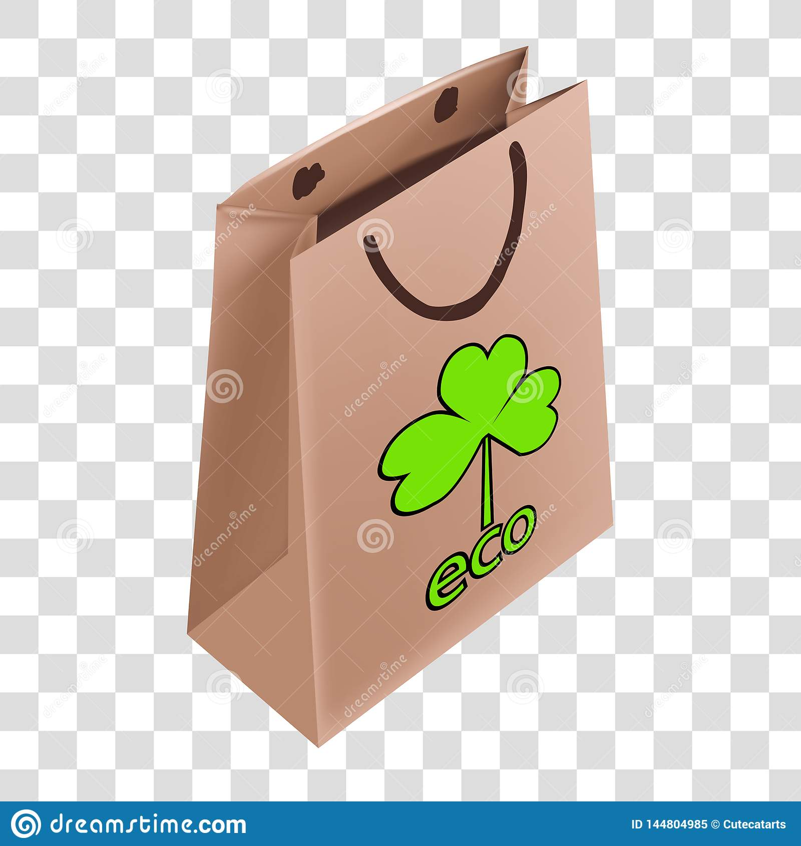 Dra ekologisk logo p? en pappers- p?se