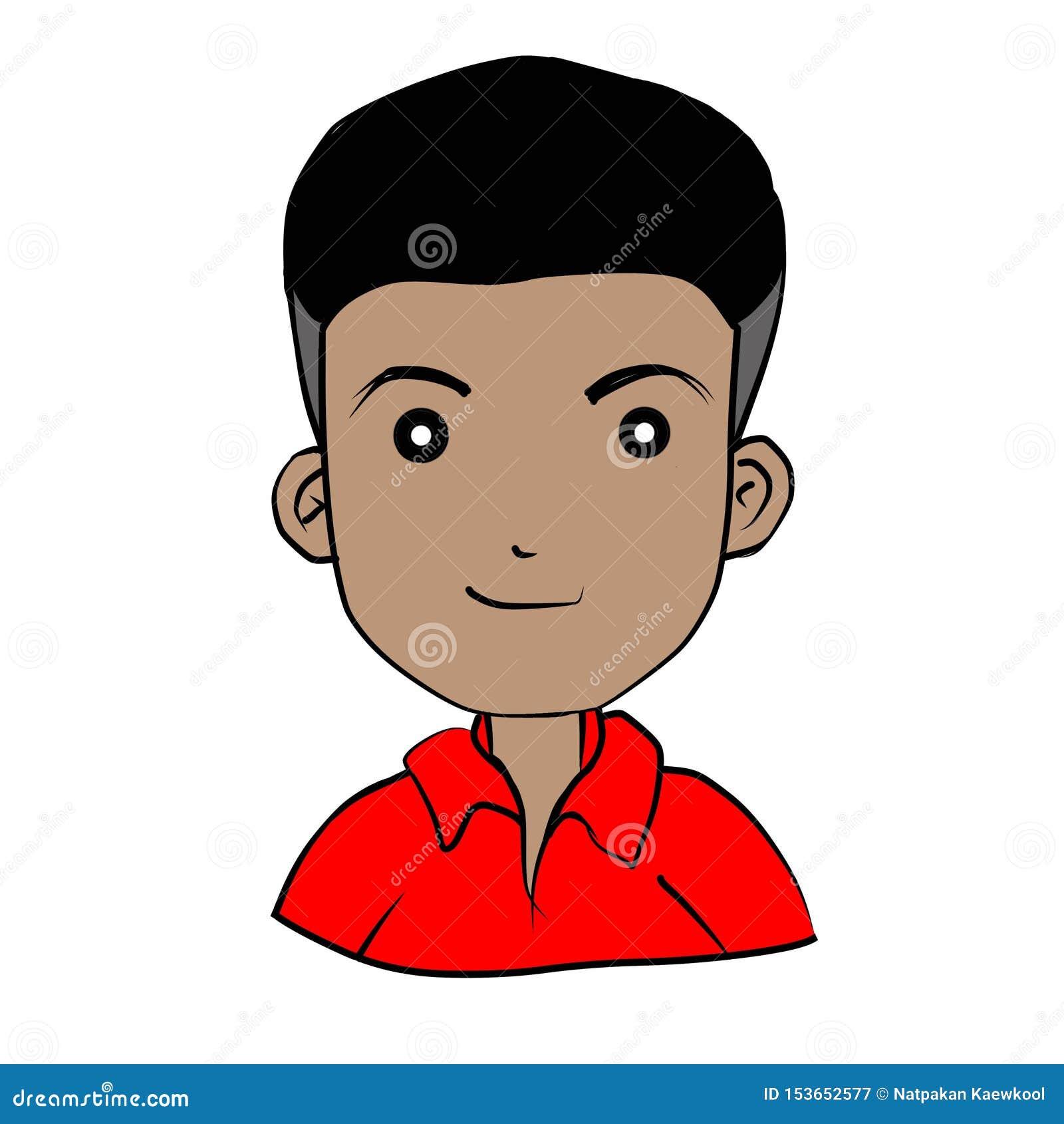 Dra en pojke som bär ett rött på vit bakgrund