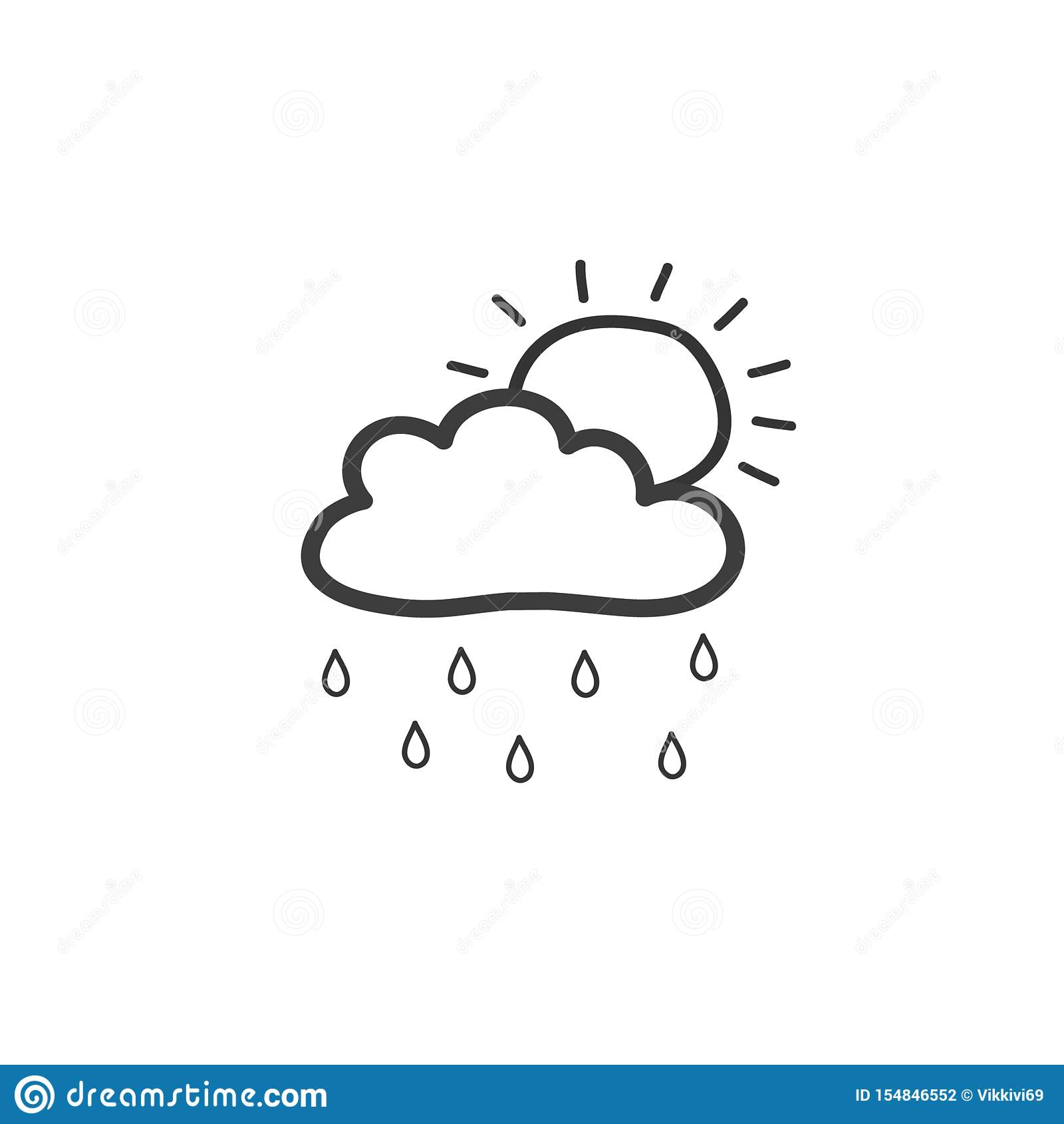 Dra molnet med regn och solen Symbol av regnigt väder Utdragen illustration för vektorhand i klotterstil