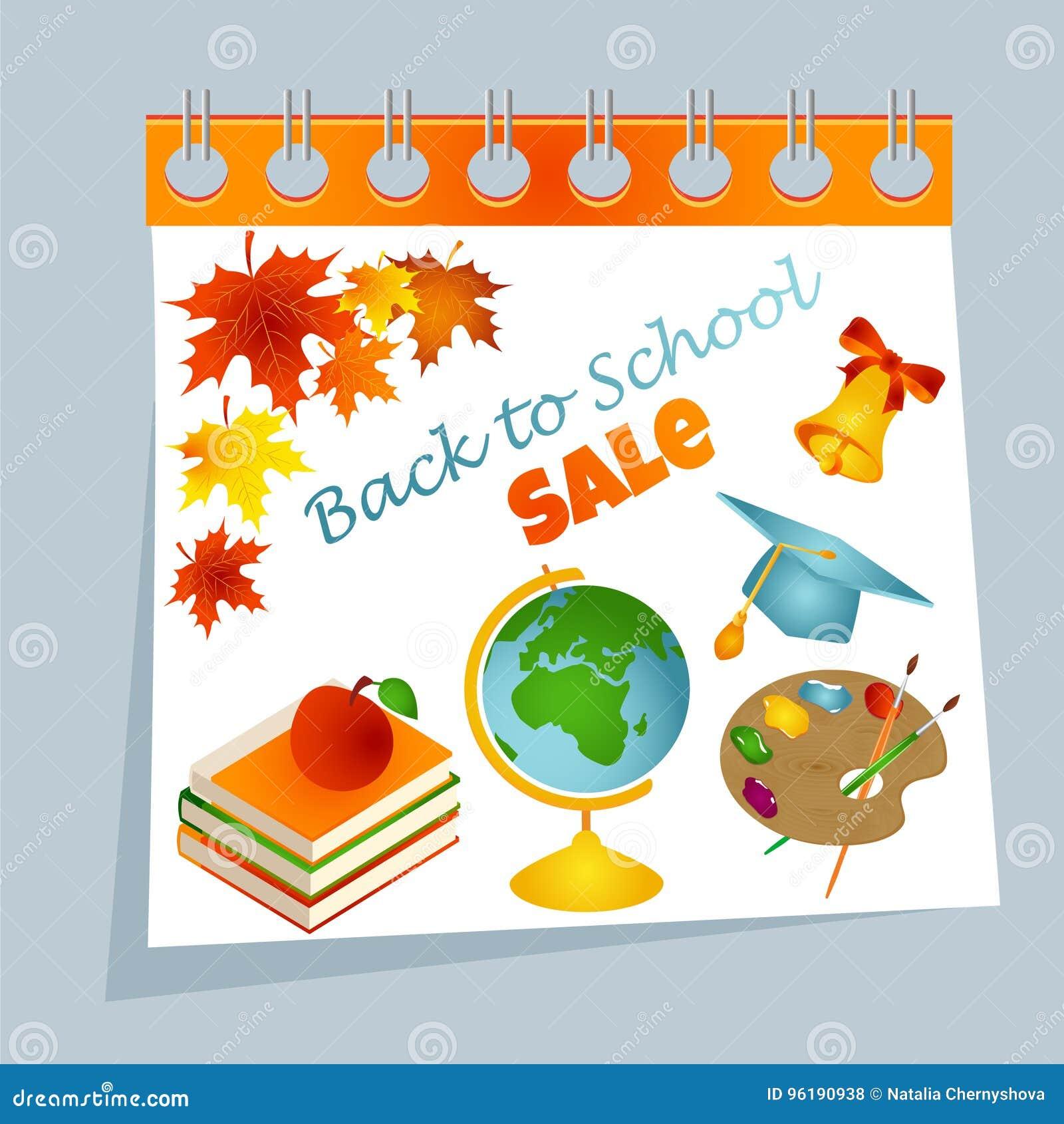 Dra tillbaka till bakgrund för skolakalenderförsäljningen med höstsidor, paletten, böcker, äpplet, klockan, det doktorand- locket