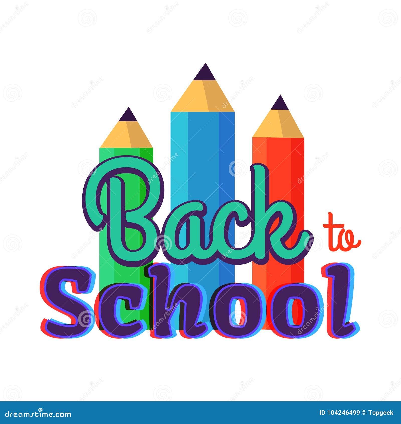Dra tillbaka till skolaaffischen med tre färgrika blyertspennor