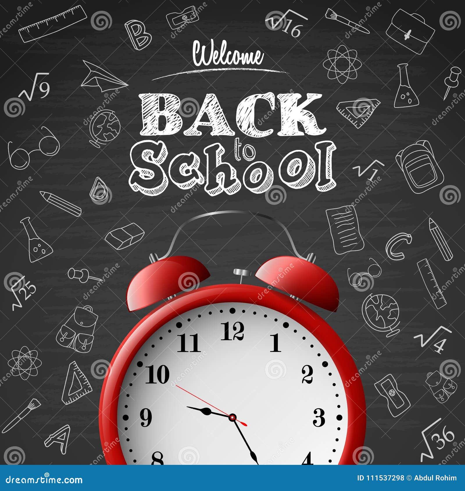 Dra tillbaka till skolabakgrund med den röda ringklockan