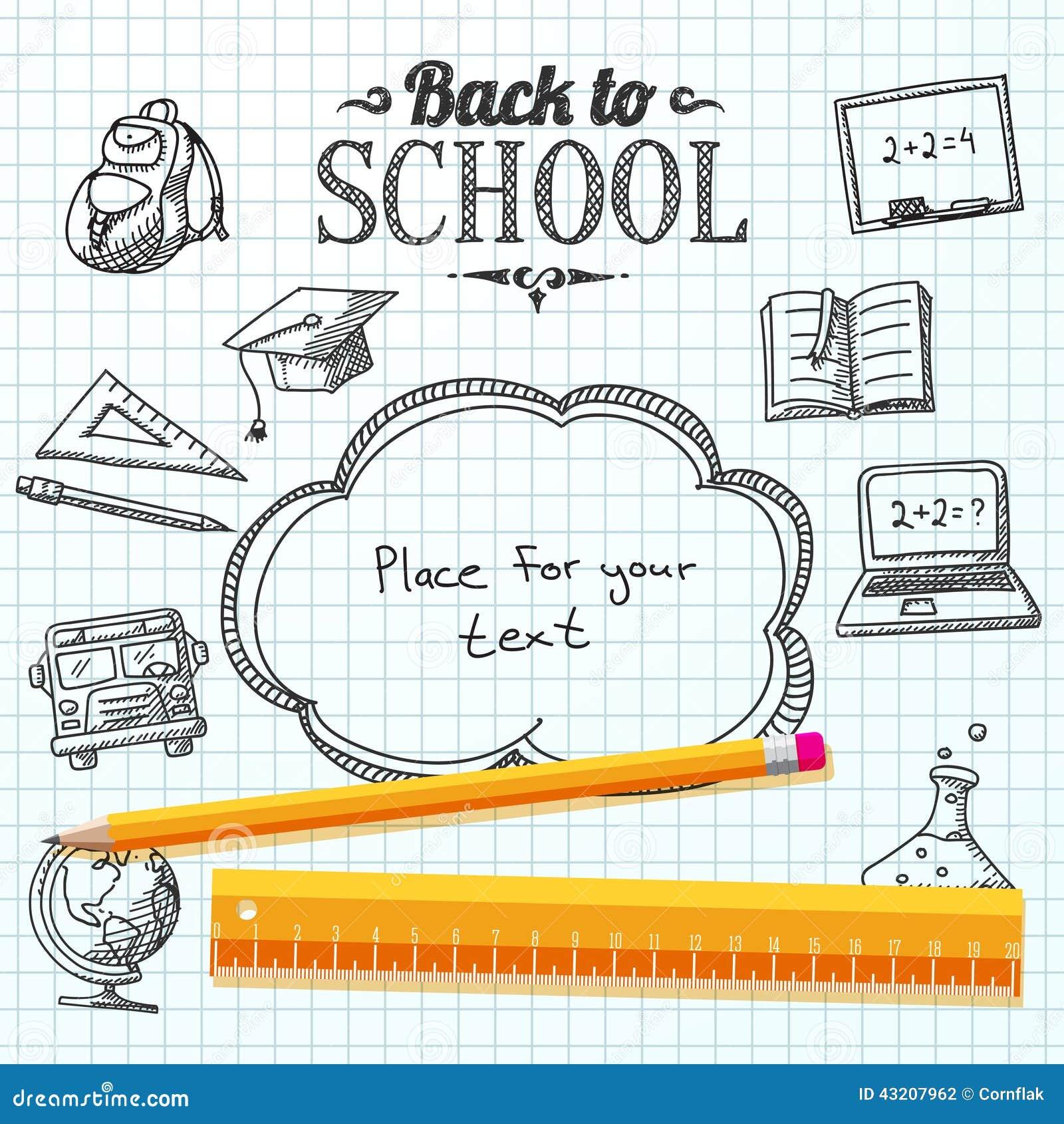 Download Dra Tillbaka Till Skolameddelandet På Papper Med Anförandebubblan Vektor Illustrationer - Illustration av graduation, kommersiellt: 43207962