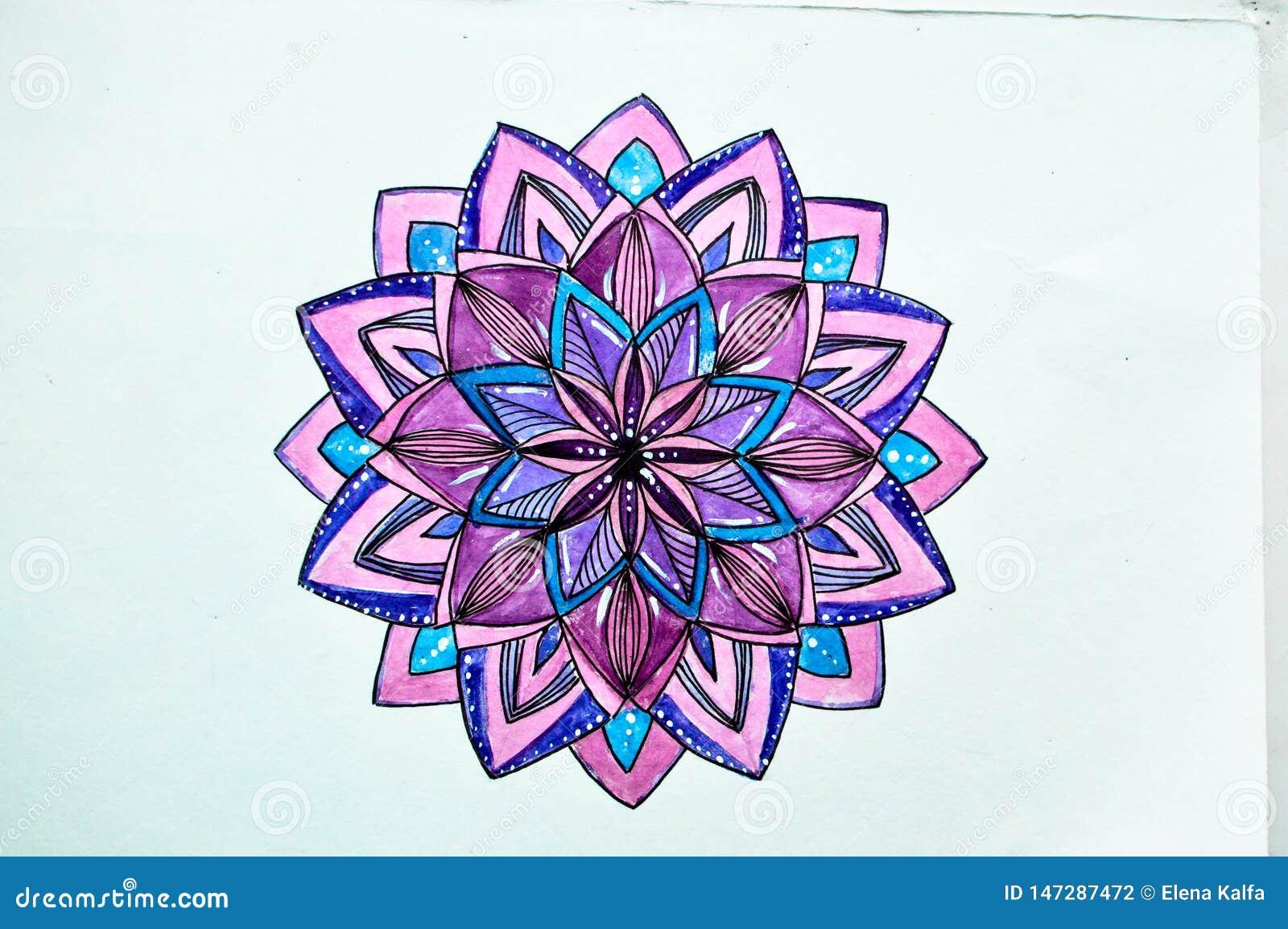 Dra vattenfärgen i stilen av zentangllilor