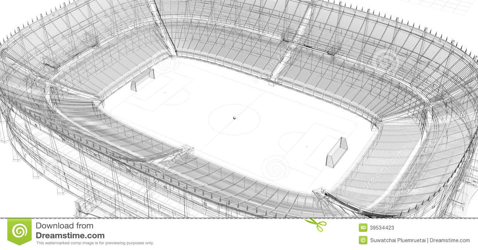 Kleurplaat Camp Nou Draadkader Van Voetbal Of Voetbalstadion Stock Illustratie