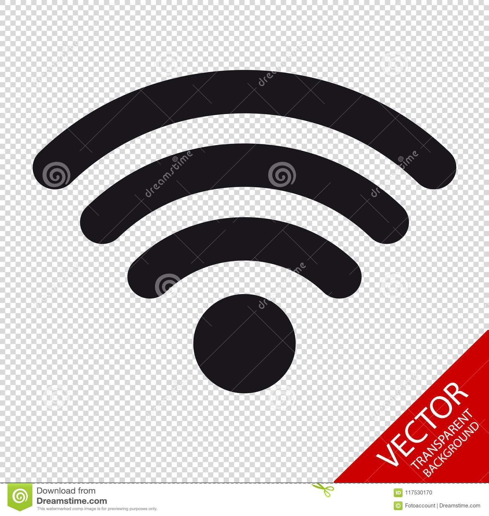 Draadloos Wlan Internet het Signaal Vlak Pictogram van WiFi voor Apps of Websites