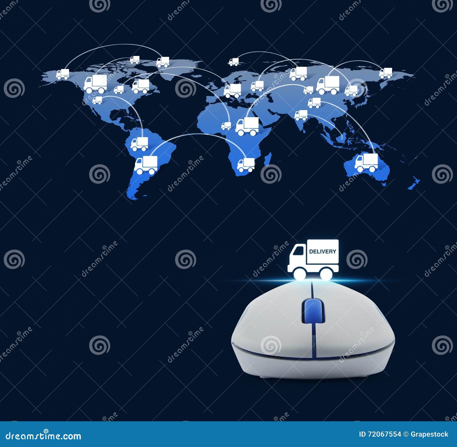 Draadloze computermuis met het pictogram van de leveringsvrachtwagen en vrachtwagenwereld
