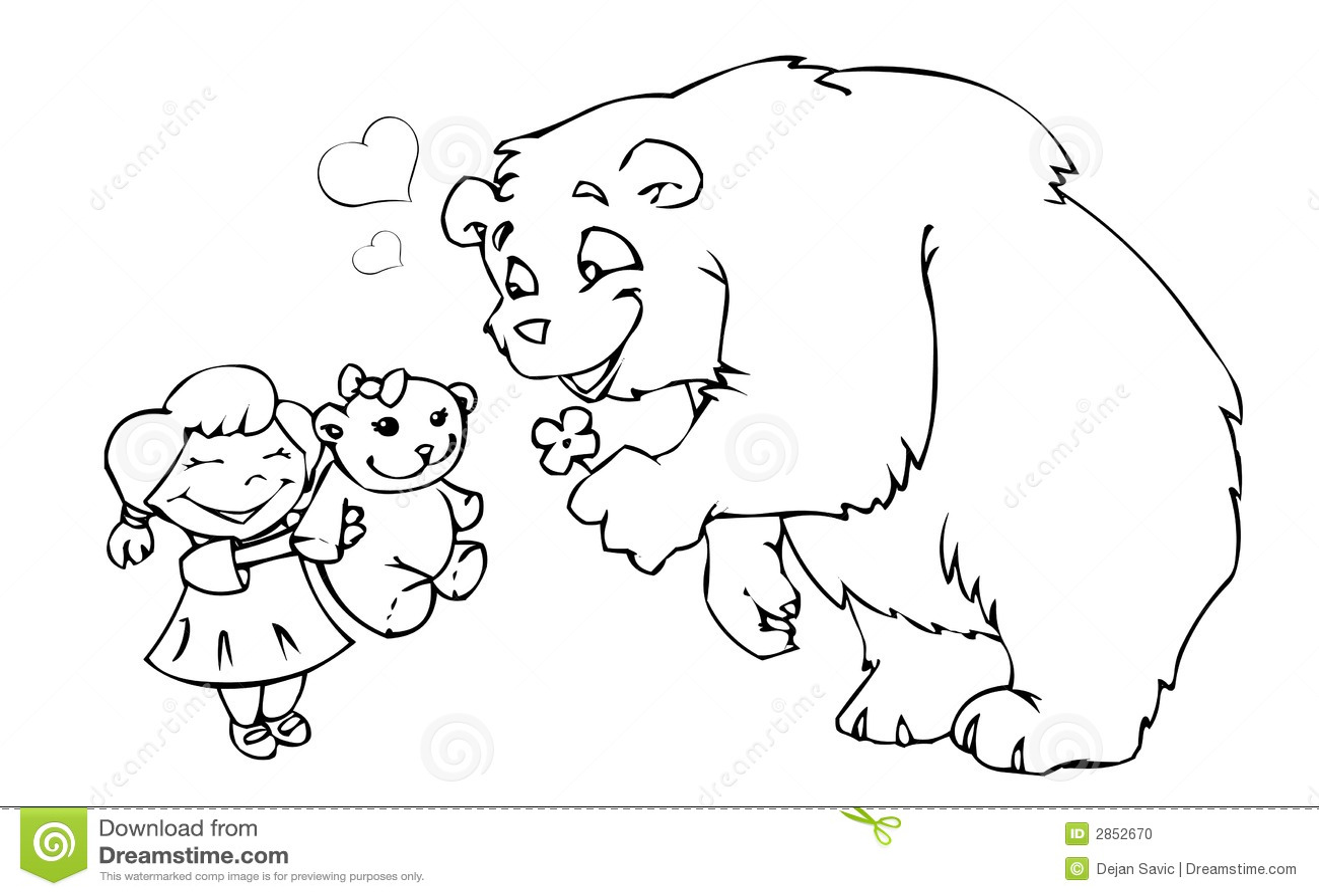Draag meisje en teddybeer