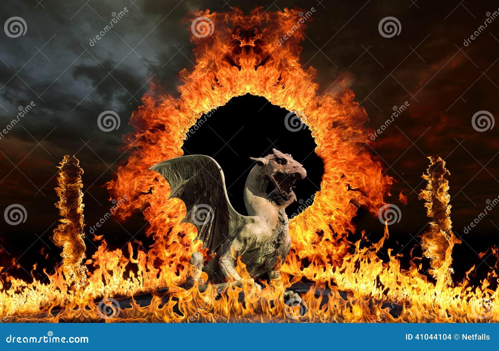 Draak bij de poorten van de hel