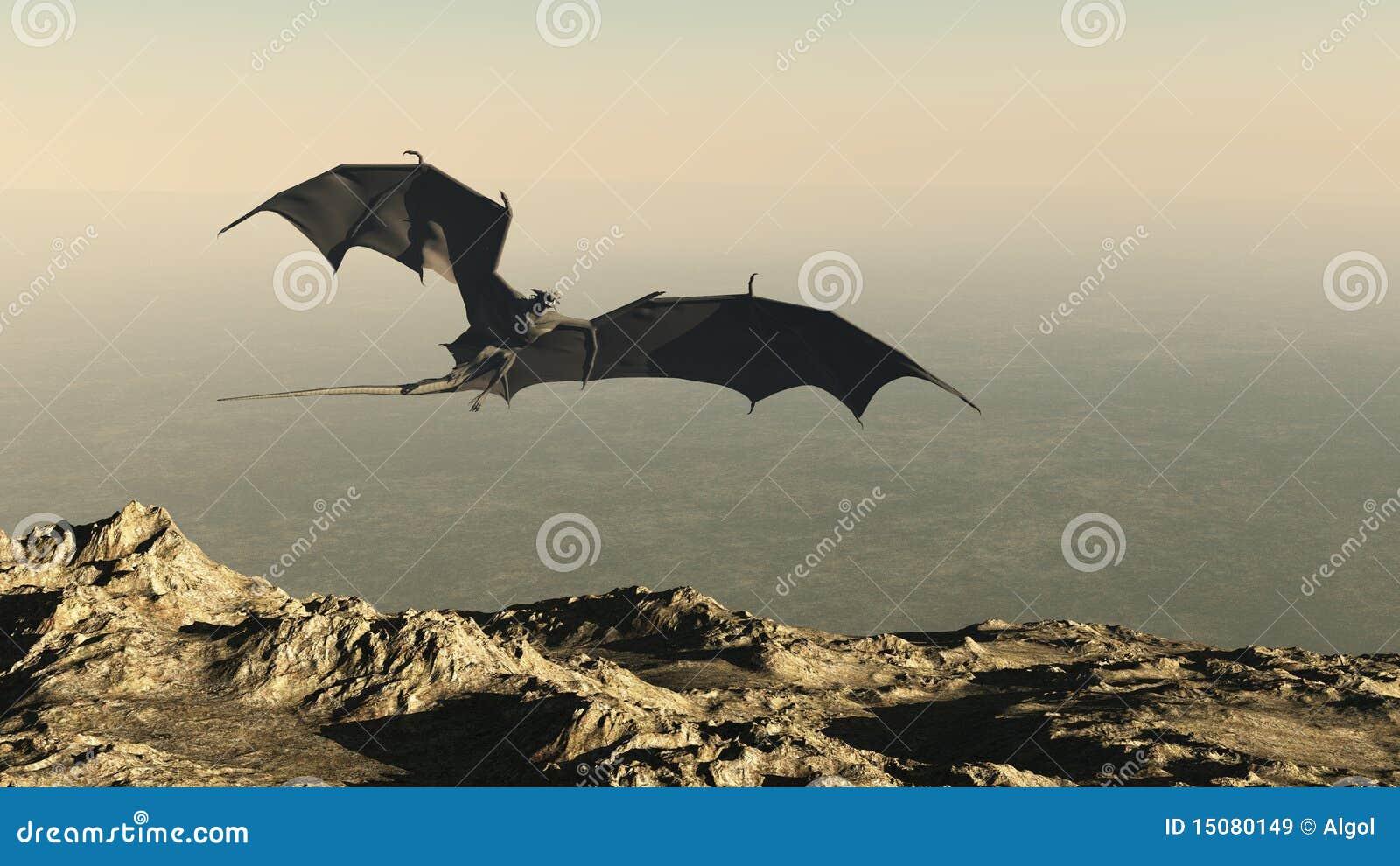 Draak die over een Klip van de Berg vliegt