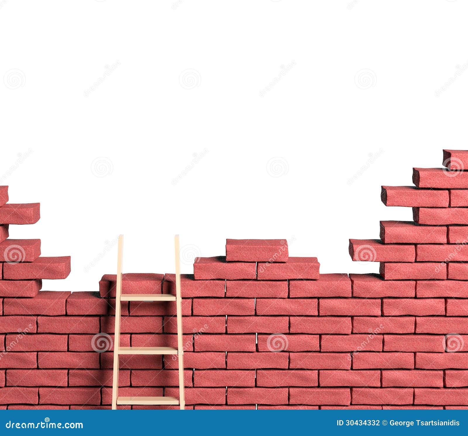 Drabina na ściana z cegieł