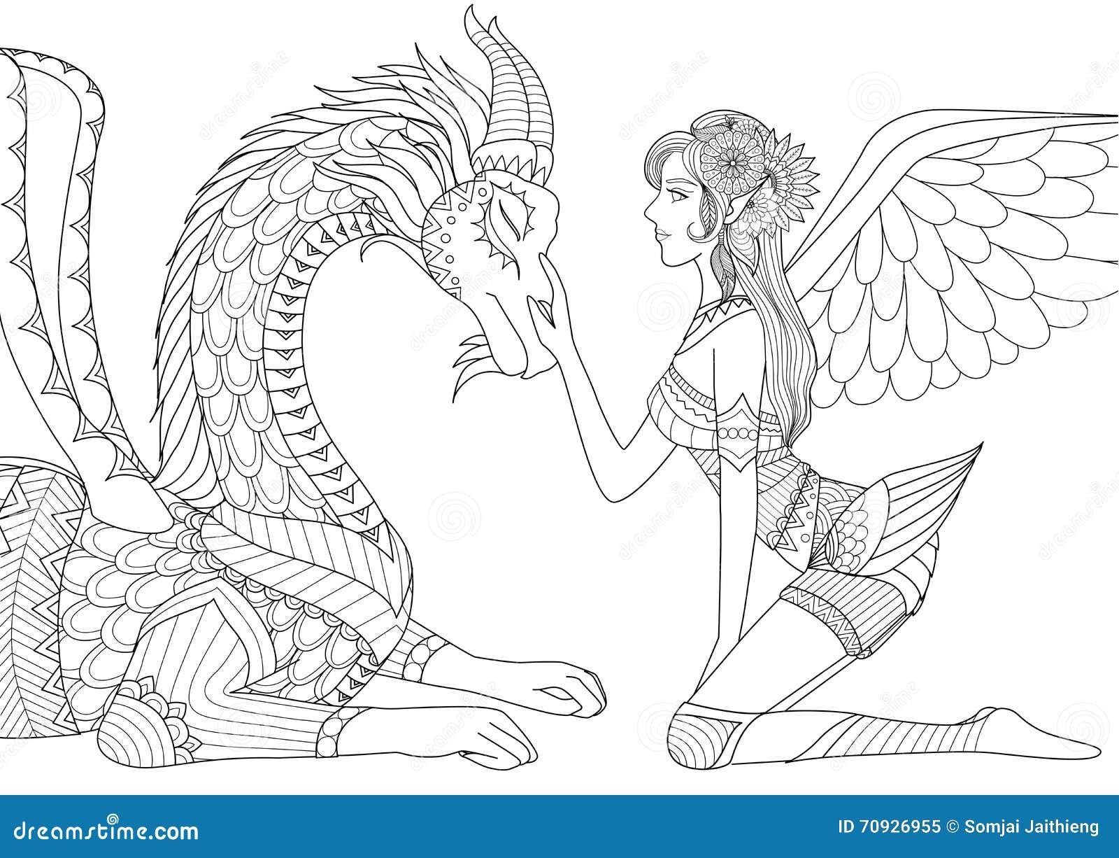 drache ist auf gnade des schönen engels linie kunstdesign