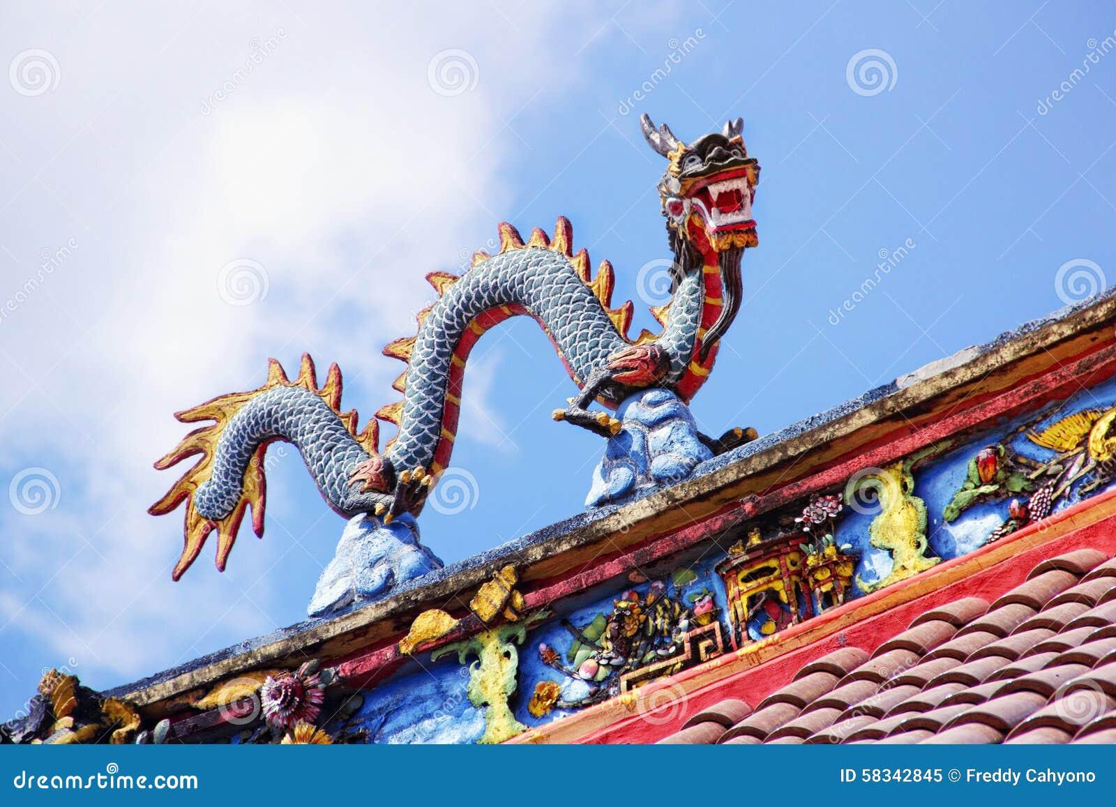 Drachestatue auf Tempeldachspitze