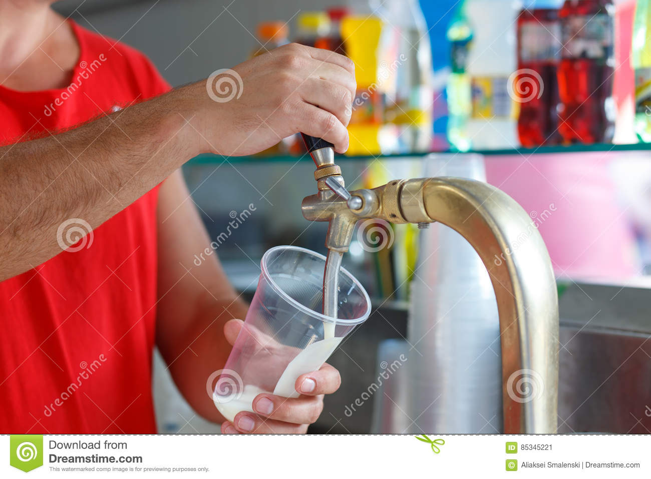 Draft beer pour stock image  Image of light, fuel, hands