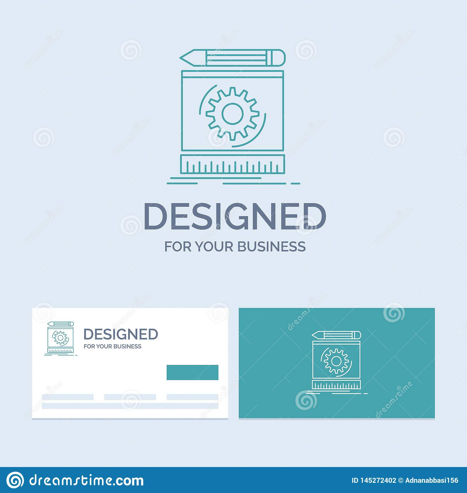 Draft, engineering, process, prototype, prototyping Business Logo Line Icon Symbol for your business. Turquoise Business Cards