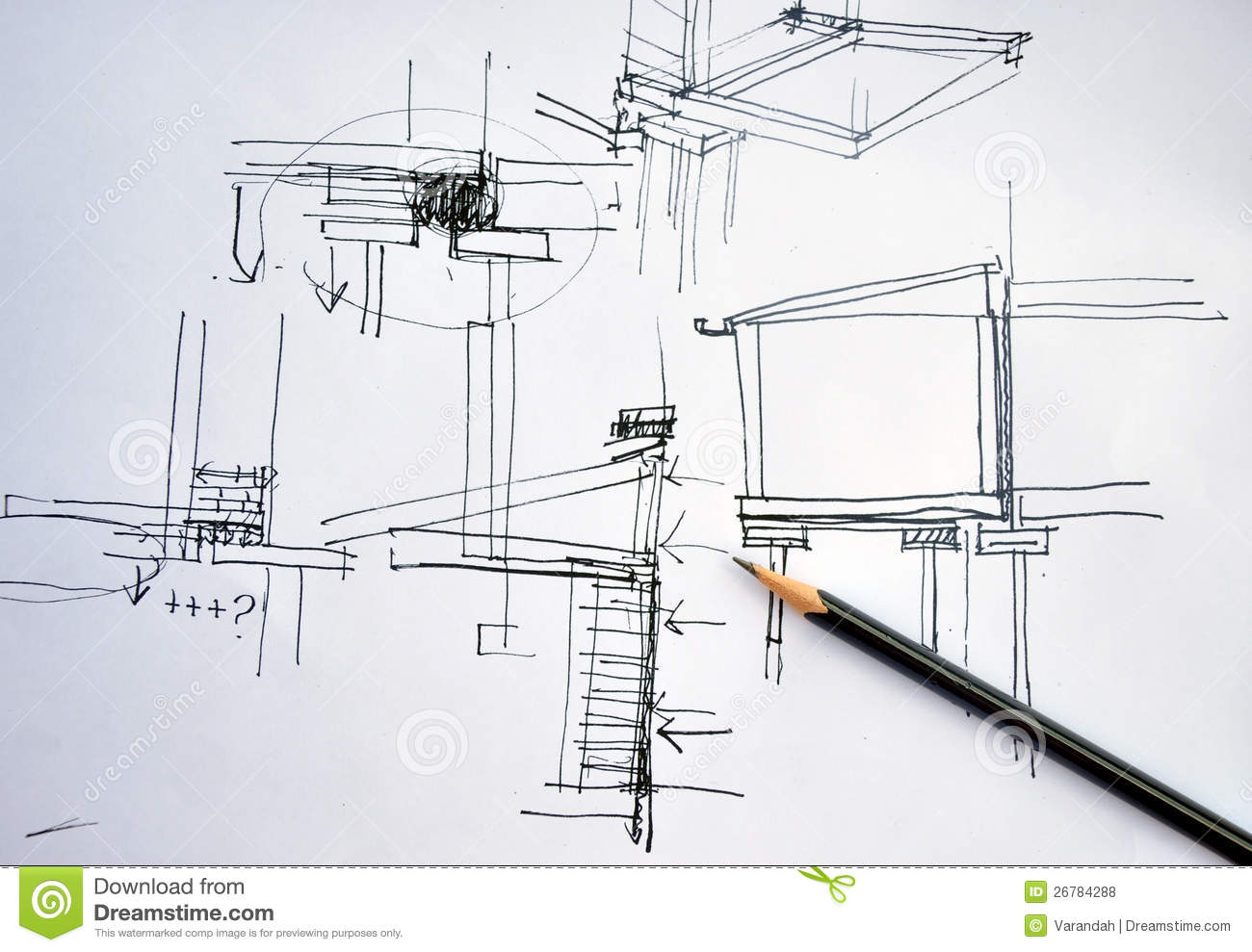 Draft hand drawing architecture plan with pencil stock for Free online architecture design