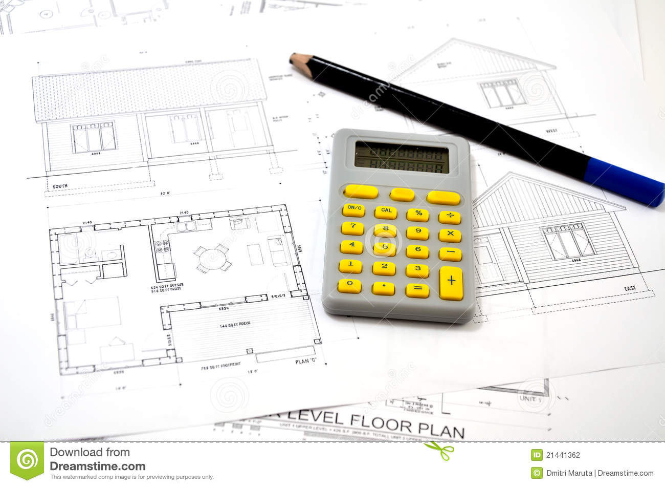 Draft Plan Of Building A House Stock Photography Image