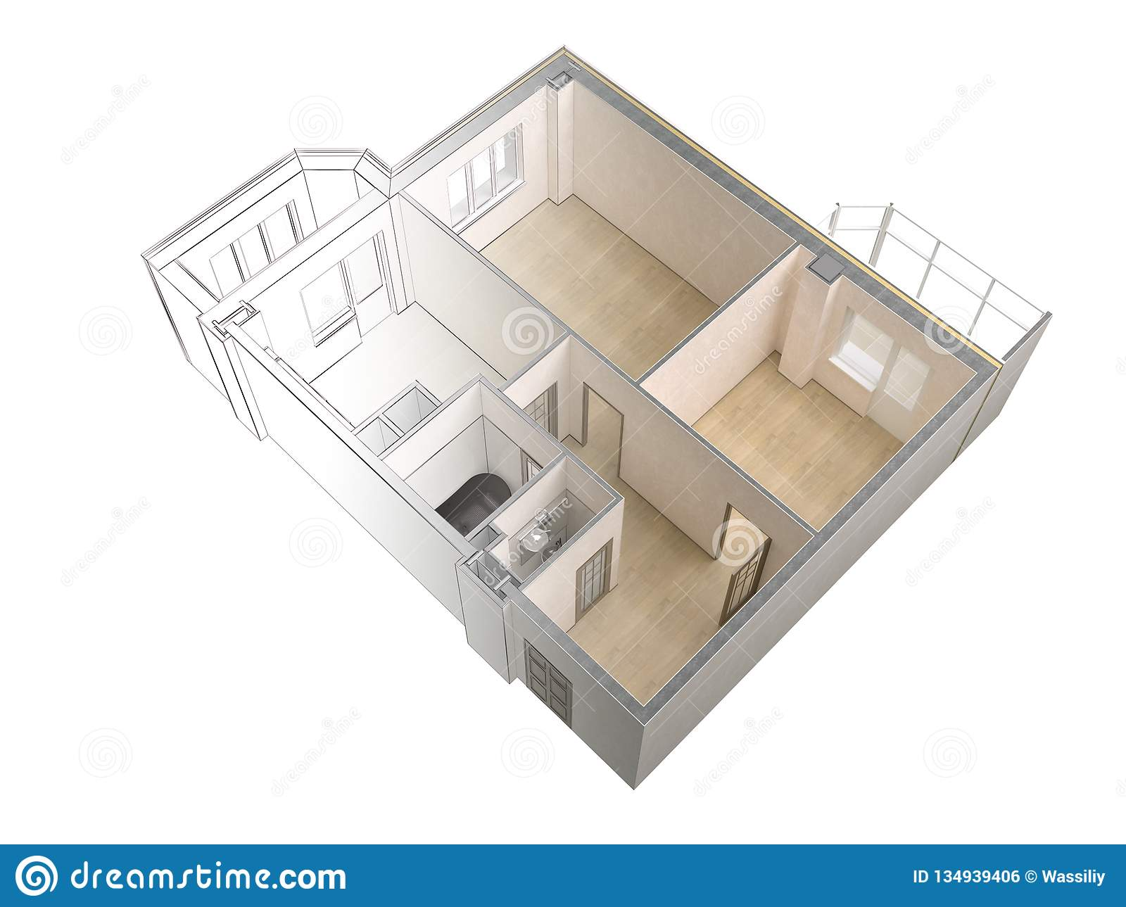Draft Sketch Of A Modern Apartment Contrasting With A