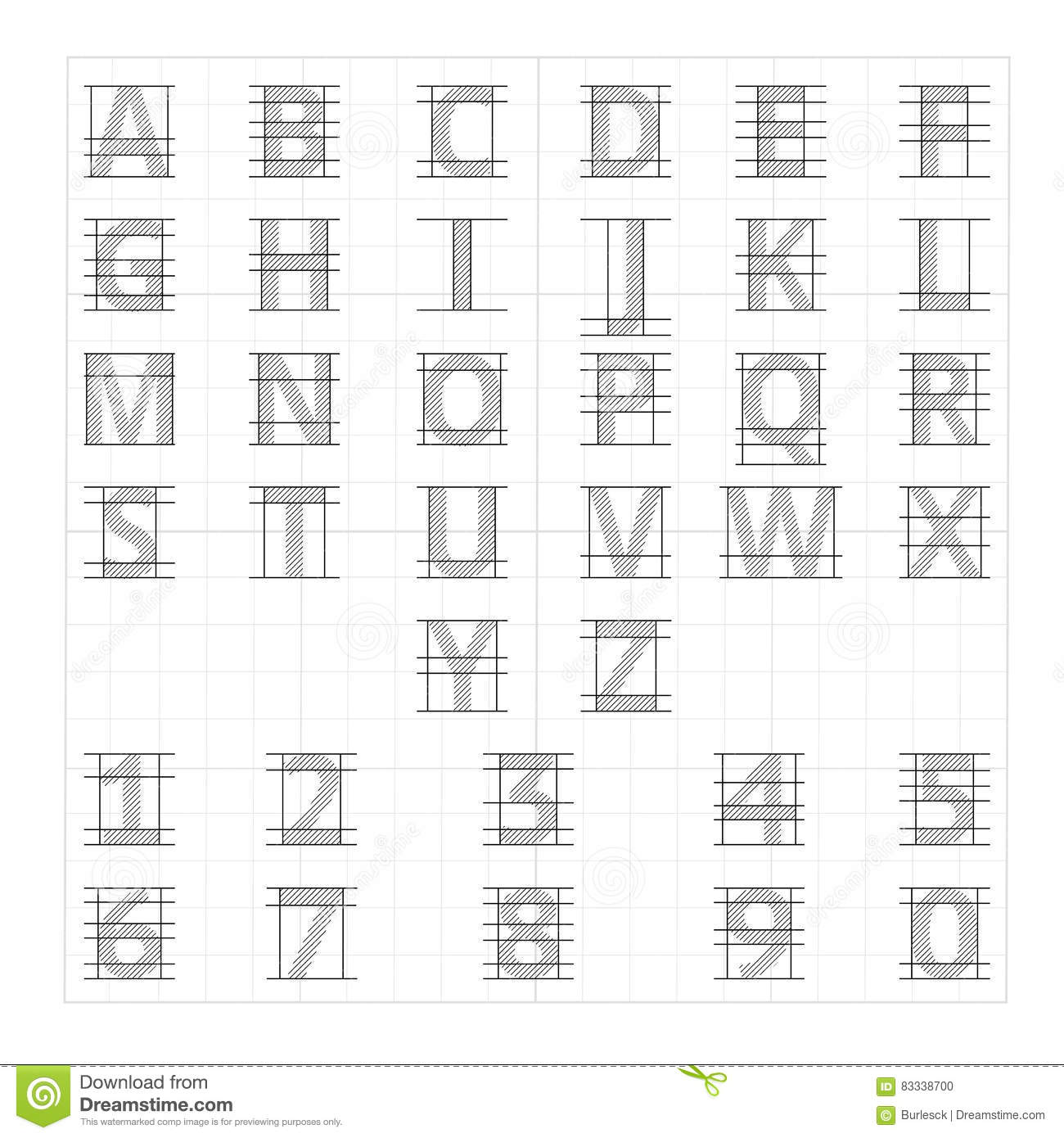 Drafting paper alphabet. Vector drawing sketch letters. Alphabet lettering instructional drafting, illustration of drafting letters
