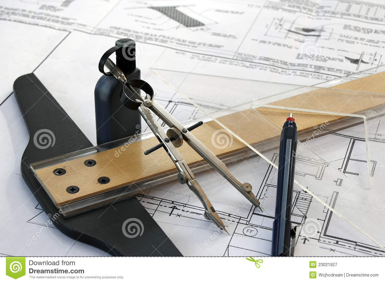 Drafting Tools Before Computers Royalty Free Stock