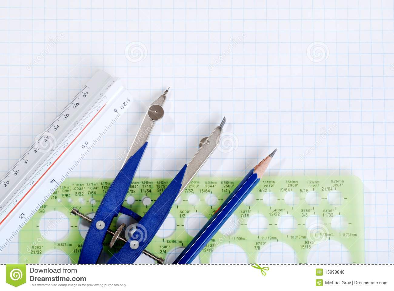 Drafting tools on graph paper royalty free stock photos for Online drafting tool