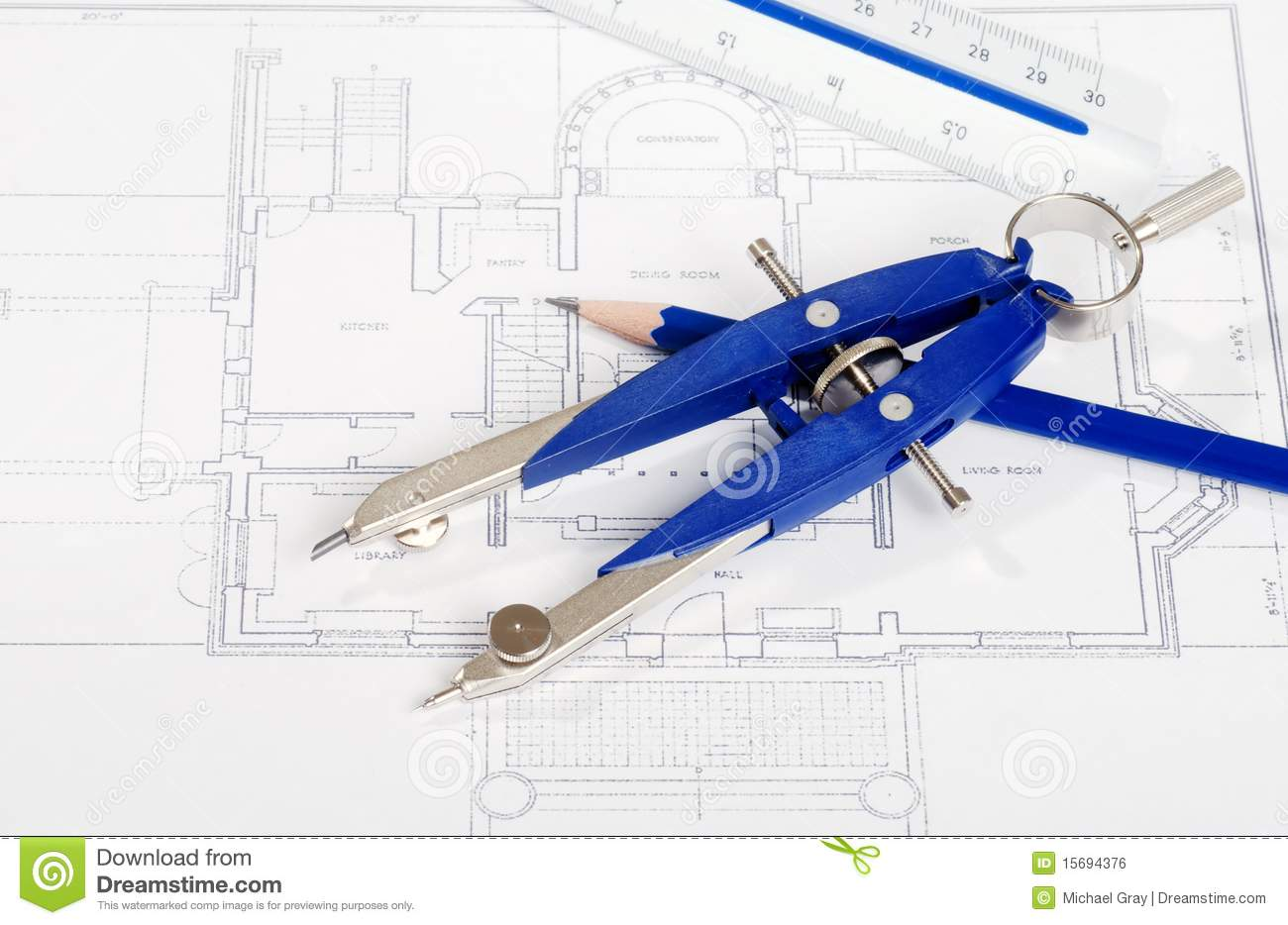 Drafting tools on house layout drawing stock photo image for Online drafting tool