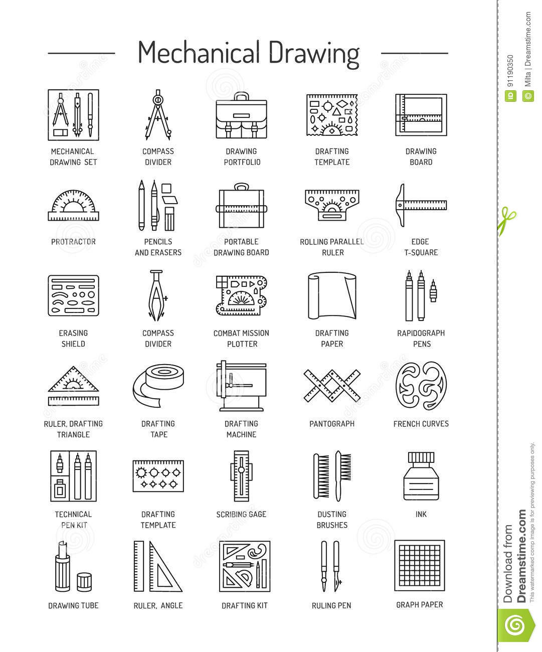 Drafting Tools Icon Collection. Technical Drawing. Line Icons Se ...