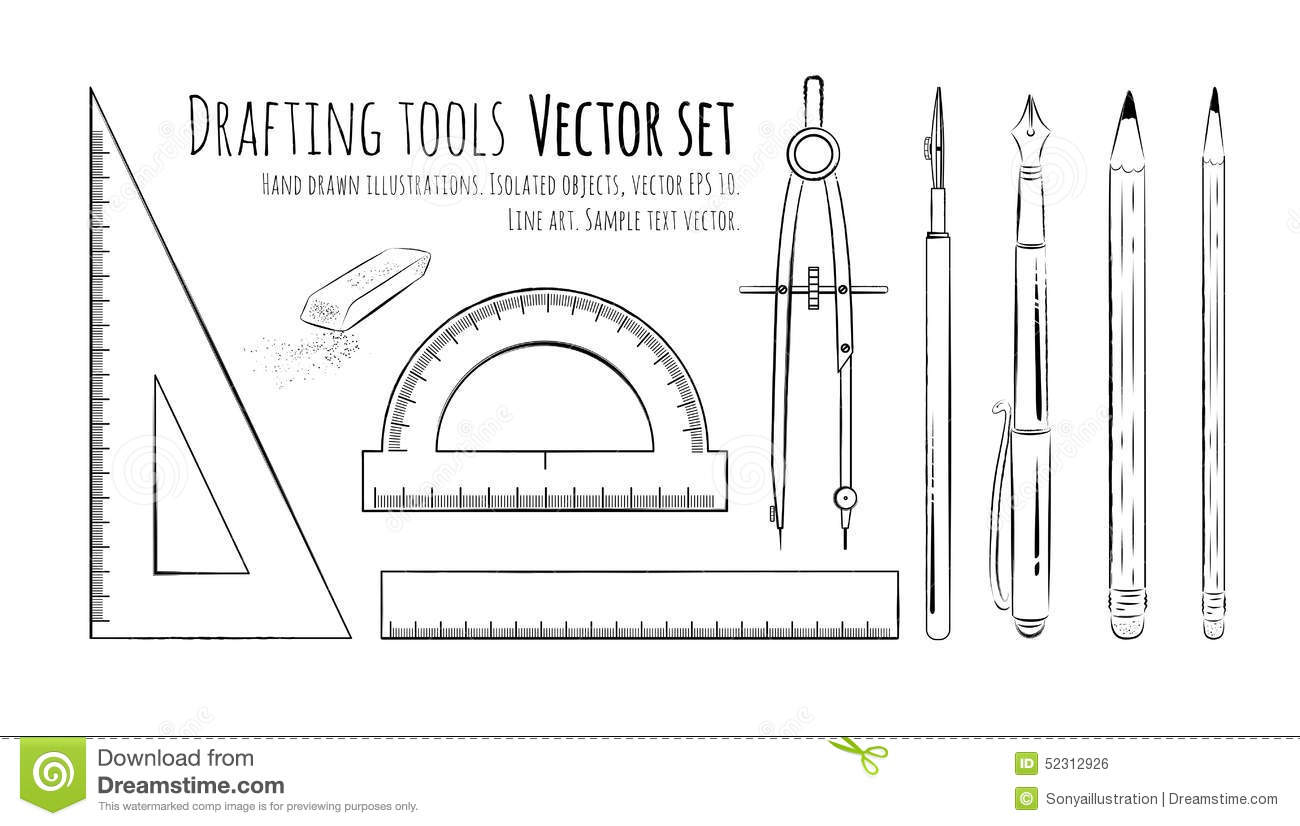 Drafting Tools Stock Vector Image 52312926